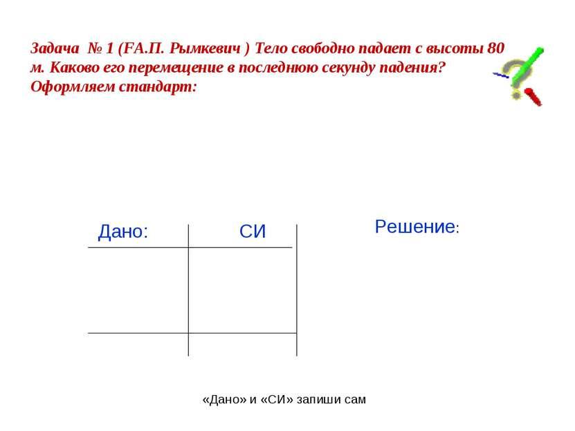Задача № 1 (FА.П. Рымкевич ) Тело свободно падает с высоты 80 м. Каково его п...