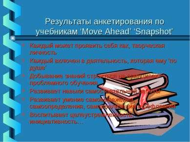Результаты анкетирования по учебникам 'Move Ahead' 'Snapshot' Каждый может пр...