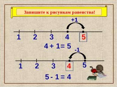 5 4 Запишите к рисункам равенства! 4 + 1 = 5 1 2 3 4 +1 1 2 3 5 -1 - 1 = 5 4