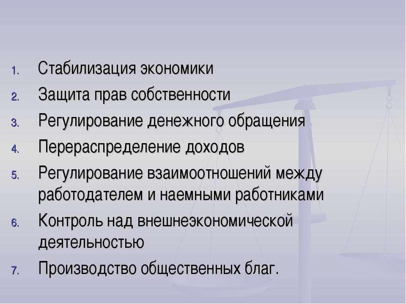 Функции государства Стабилизация экономики Защита прав собственности Регулиро...