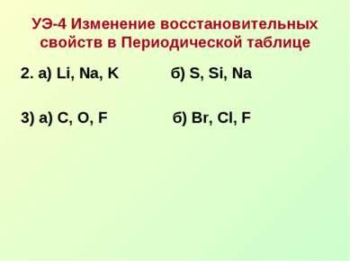 УЭ-4 Изменение восстановительных свойств в Периодической таблице 2. а) Li, Na...