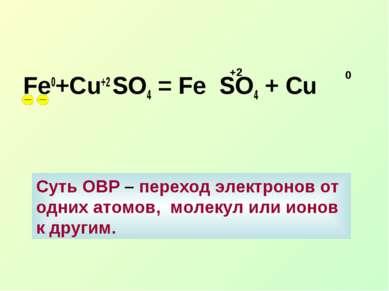 Fe0+Cu+2 SO4 = Fe SO4 + Сu +2 0 Суть ОВР – переход электронов от одних атомов...