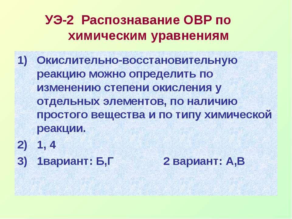 УЭ-2 Распознавание ОВР по химическим уравнениям Окислительно-восстановительну...