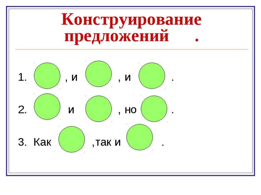 Конструирование предложений . 1. , и , и . 2. и , но . 3. Как ,так и .