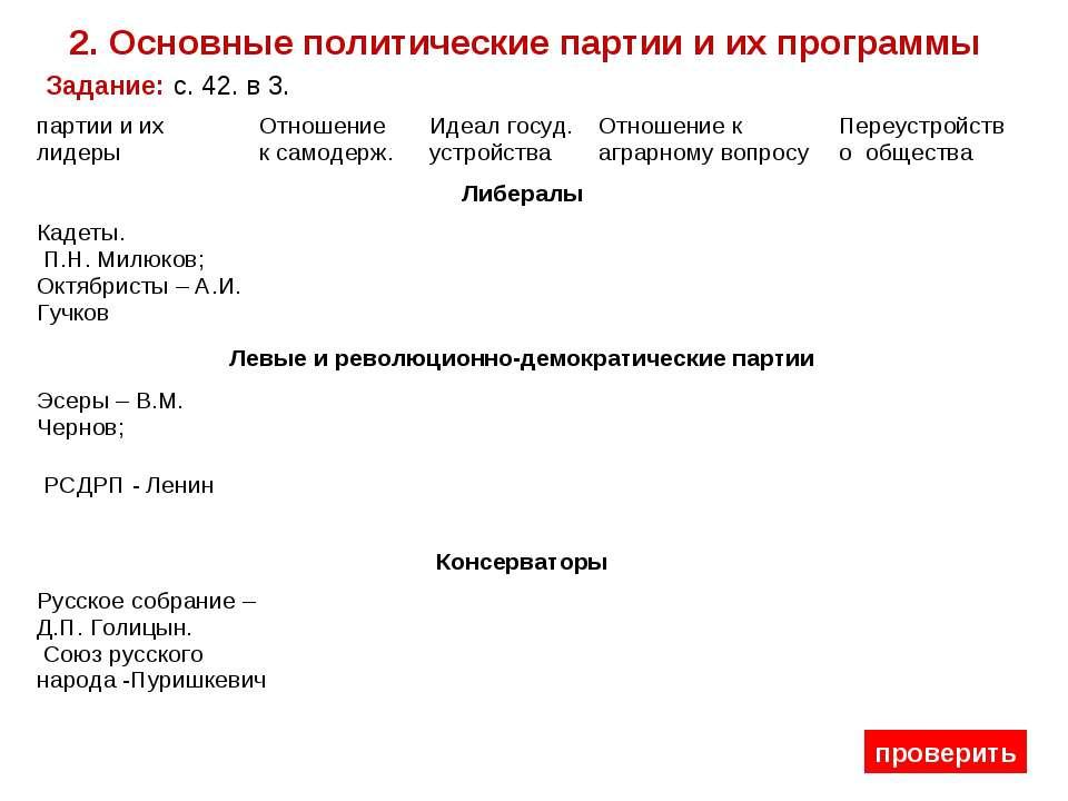 2. Основные политические партии и их программы Задание: с. 42. в 3. проверить...