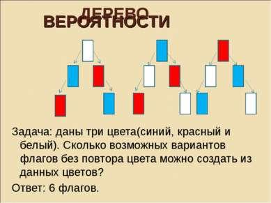 ДЕРЕВО ВЕРОЯТНОСТИ Задача: даны три цвета(синий, красный и белый). Сколько во...