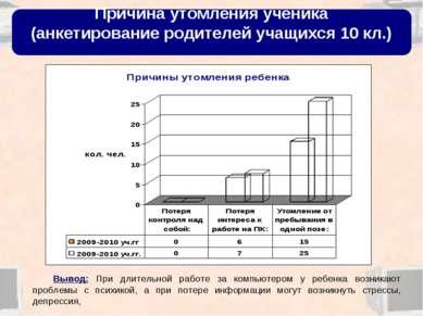 Причина утомления ученика (анкетирование родителей учащихся 10 кл.) Вывод: Пр...