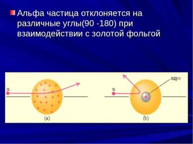 Альфа частица отклоняется на различные углы(90 -180) при взаимодействии с зол...