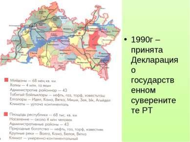 1990г – принята Декларация о государственном суверенитете РТ