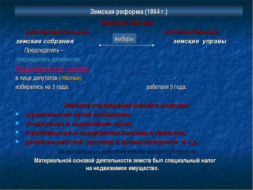 Земская реформа (1864 г.) Земские органы распорядительные исполнительные земс...