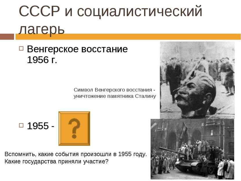 Венгерское восстание 1956 г. 1955 - СССР и социалистический лагерь Символ Вен...