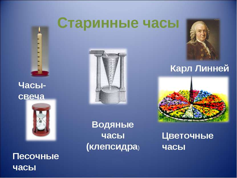 Старинные часы Часы-свеча Цветочные часы Водяные часы (клепсидра) Карл Линней...