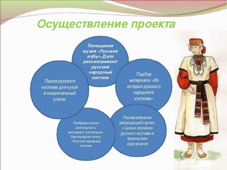 Осуществление проекта Посещение музея «Русские избы».Дети рассматривают русск...