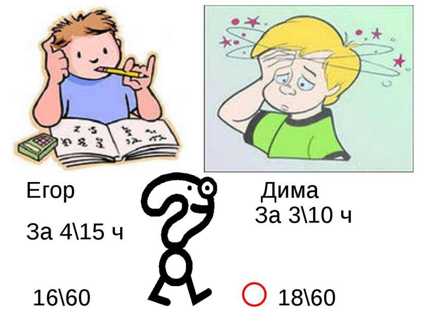 Егор Дима За 4\15 ч За 3\10 ч 16\60 18\60 ˂