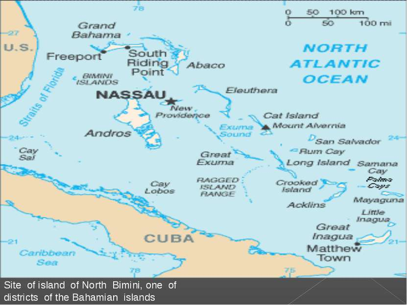 Site of island of North Bimini, one of districts of the Bahamian islands