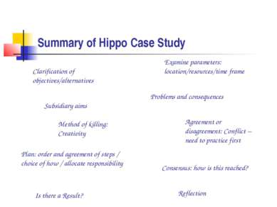 Summary of Hippo Case Study Examine parameters: location/resources/time frame...