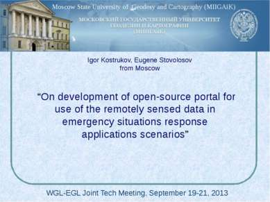 """On development of open-source portal for use of the remotely sensed data in ..."