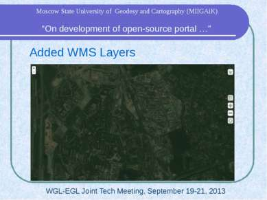 "Added WMS Layers WGL-EGL Joint Tech Meeting, September 19-21, 2013 ""On develo..."