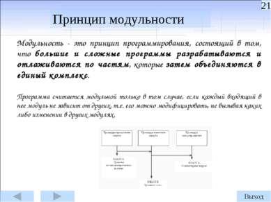Модульность - это принцип программирования, состоящий в том, что большие и сл...