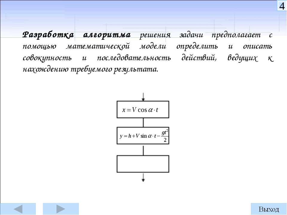 Разработка алгоритма решения задачи предполагает с помощью математической мод...