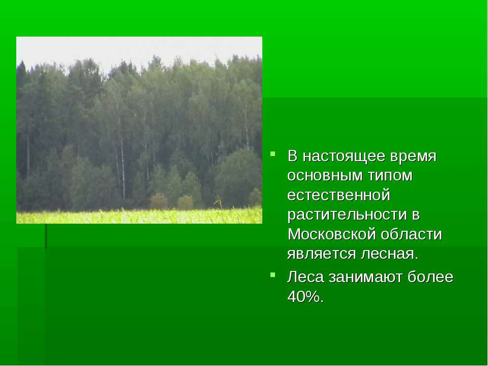 В настоящее время основным типом естественной растительности в Московской обл...