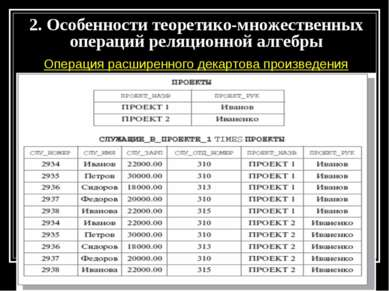 Операция расширенного декартова произведения 2. Особенности теоретико-множест...
