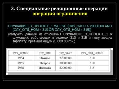 СЛУЖАЩИЕ_В_ПРОЕКТЕ_1 WHERE (СЛУ_ЗАРП > 20000.00 AND (СЛУ_ОТД_НОМ = 310 OR СЛУ...