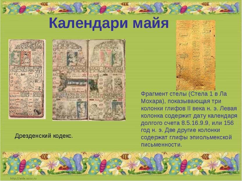 Календари майя Фрагмент стелы (Стела 1 в Ла Мохара), показывающая три колонки...