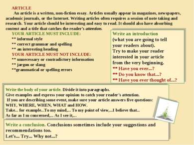 ARTICLE An article is a written, non-fiction essay. Articles usually appear i...