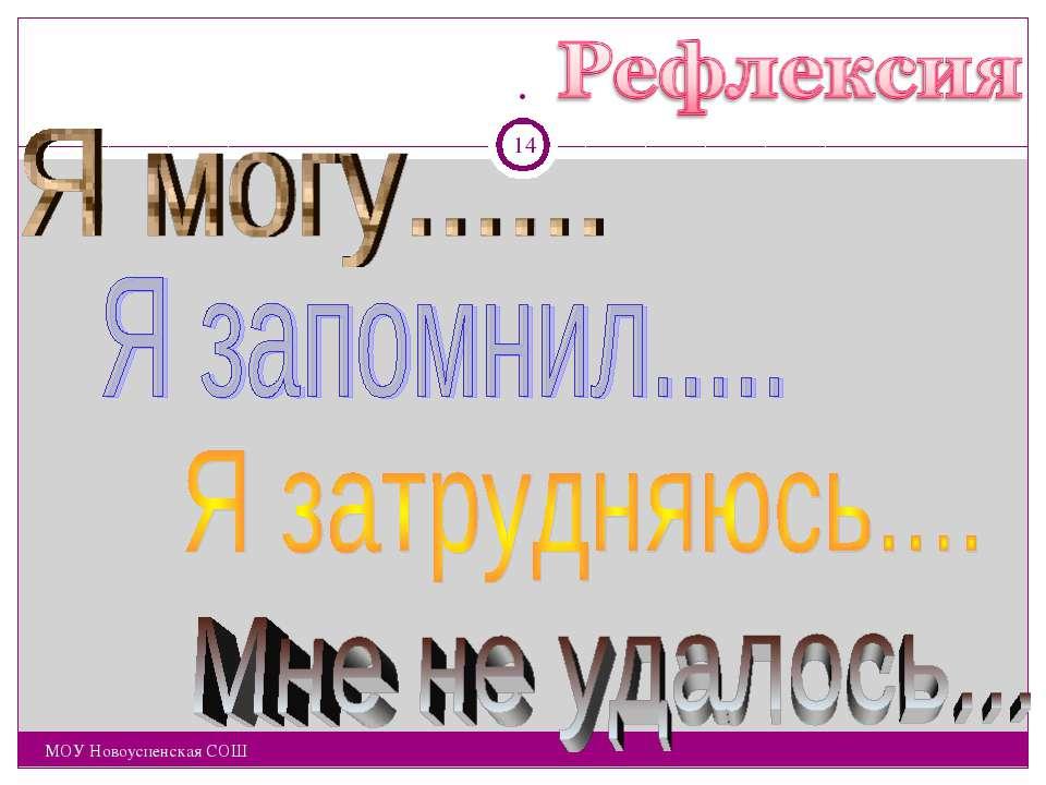 . . МОУ Новоуспенская СОШ * МОУ Новоуспенская СОШ