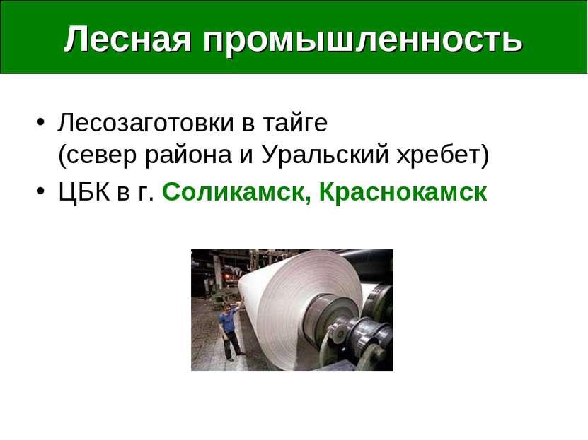 Лесная промышленность Лесозаготовки в тайге (север района и Уральский хребет)...
