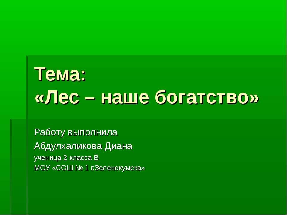 Тема: «Лес – наше богатство» Работу выполнила Абдулхаликова Диана ученица 2 к...