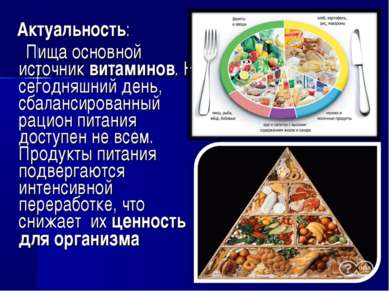 Актуальность: Пища основной источник витаминов. На сегодняшний день, сбаланси...