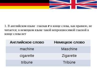 Особенности чтения в немецком и английском языках 1. В английском языке гласн...