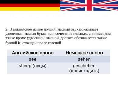 Особенности чтения в немецком и английском языках 2. В английском языке долги...