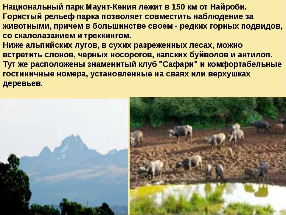 Национальный парк Маунт-Кения лежит в 150 км от Найроби. Гористый рельеф парк...