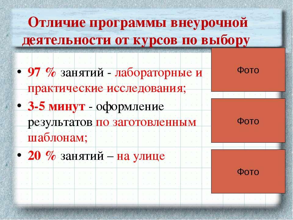 Отличие программы внеурочной деятельности от курсов по выбору 97 % занятий - ...