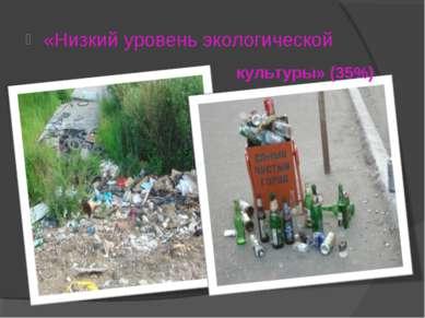 «Низкий уровень экологической культуры» (35%)
