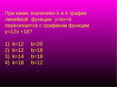 При каких значениях k и b график линейной функции у=kx+b пересекается с графи...