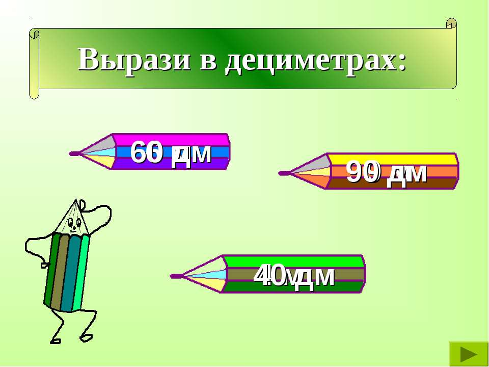 Вырази в дециметрах: 6 м 9 м 4 м 60 дм 40 дм 90 дм