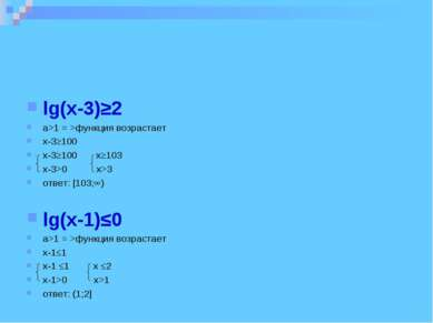 lg(x-3)≥2 a>1 = >функция возрастает x-3≥100 x-3≥100 x≥103 x-3>0 x>3 ответ: [1...