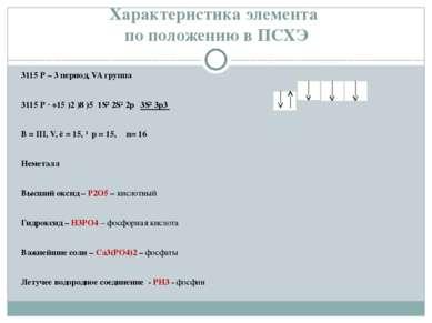 Характеристика элемента по положению в ПСХЭ 3115 Р – 3 период, VA группа 3115...