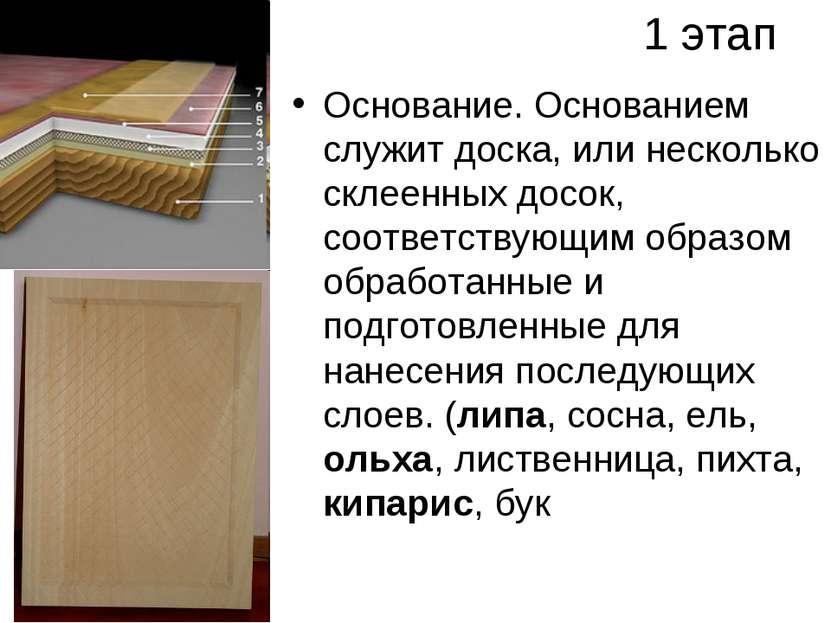 1 этап Основание. Основанием служит доска, или несколько склеенных досок, соо...