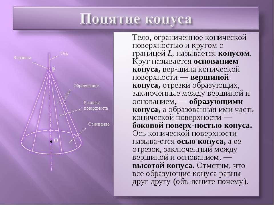 P Ось Вершина Образующие Боковая поверхность Основание