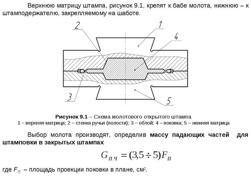 Верхнюю матрицу штампа, рисунок 9.1, крепят к бабе молота, нижнюю – к штампод...