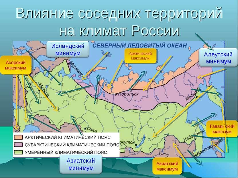 Влияние соседних территорий на климат России Арктический максимум Азорский ма...