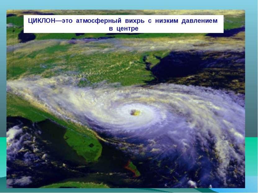 ЦИКЛОН—это атмосферный вихрь с низким давлением в центре