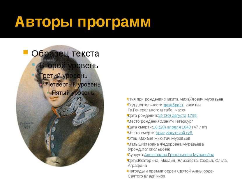 Авторы программ Имя при рождении:Никита Михайлович Муравьёв Род деятельности:...