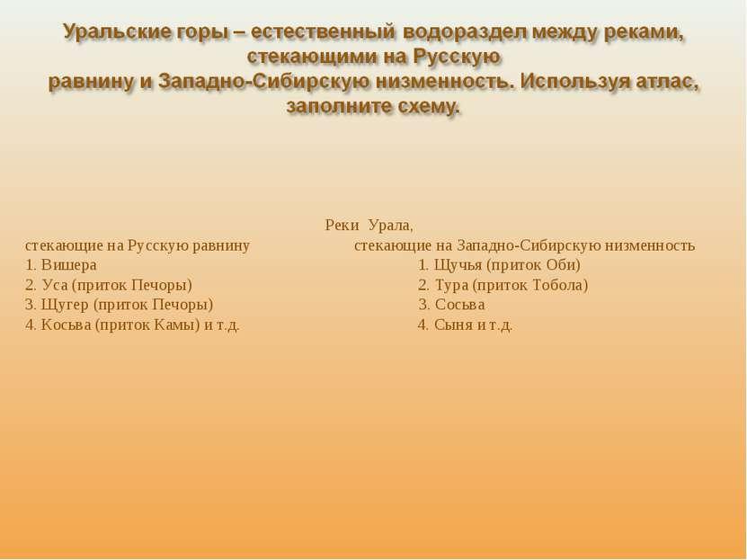 Реки Урала, стекающие на Русскую равнину стекающие на Западно-Сибирскую низме...