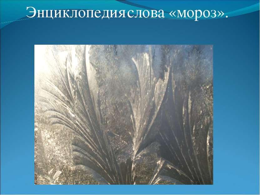 Энциклопедия слова «мороз».